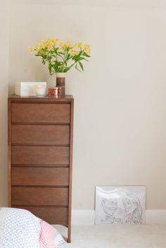 MADE customer Lana's Ledger Tallboy Chest of drawers, complete with gorgeous yellow flowers. MADE.COM/Unboxed Tallboy Chest Of Drawers, Vintage Trunks, The Real World, Floating Nightstand, Storage Solutions, Shelves, Design Interiors, Workspaces, Bedroom