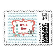 Ahoy It's a Boy Postage Stamp