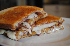 """Vegan Pear, Raspberry, and Tempeh """"Bacon"""" Grilled """"Cheese"""" 