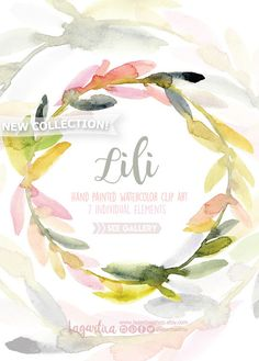 Watercolor clipart  Floral Frame PNG wedding by LagartixaShop #wetonwet #watercolor #leaves #wreath #colors #invitations