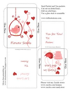 Flower seeds package and Tea packet (valentine), free printable.