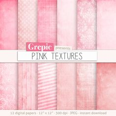 Pink digital paper: PINK TEXTURES with pink grungy paper by Grepic