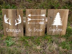 Courage Be Brave Explore Woodlands Set of Three Reclaimed Pallet Wood Nursery…