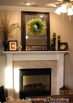 Decorating A Mantel i want that frame with a wreath that i have made in it :) | for