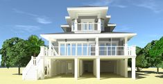 Beach House with Covered Porches. - Beach House with Covered Porches. Coastal House Plans, Beach House Plans, Cottage House Plans, Coastal Cottage, Coastal Homes, Cottage Homes, Coastal Bedrooms, Modern Cottage, Coastal Decor