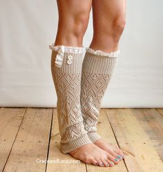 The Lacey Lou Natural Open-work Leg Warmers with ivory knit lace trim & buttons - Legwarmers boot socks (item no. 3-14). $34.00, via Etsy.