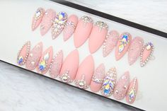 Pink Swarovski Press on Nails  Genuine Swarovski  Swarovski