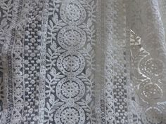 Ivory Embroidered Lace Fabric, Organza Cotton Fabric, Vintage Wedding Dress Gauze Lace Fabric By Yard
