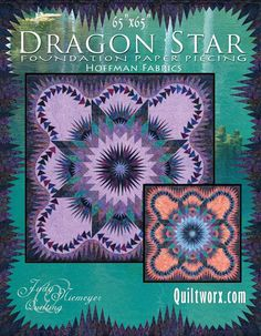 Judy Niemeyer Paper Pieced Dragon Star pattern -- If I wanted to do Mardi Gras with fabrics that read as solid
