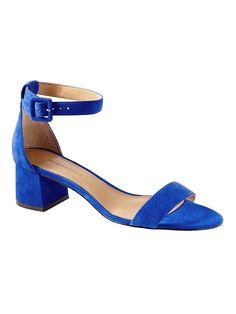 7b10f2367c3 Banana Republic Womens Bare Low Block-Heel Sandal Cobalt Blue Low Block  Heel Sandal