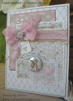 Pink Sparkle Card by InkwoodDesigns on Etsy