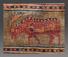 Pazyryk rug, detail of a moose, c.2300 BC.  I don't understand how this is still intact, and in such remarkable shape!