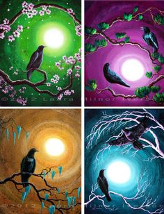 Ravens (or crows) set in each season, the tree branches carrying across the canvases. Spring is represented by cherry blossoms and a night sky of lime green, deepening to emerald. Summer shows two ravens perched on evergreen pine branches. Golden autumn is represented by a raven on moss covered branches. And a raven takes flight against the bare white tree branches of winter. Part of the Timeless series, which uses thin layers of wash inspired by grunge contemporary art to give an ancient…