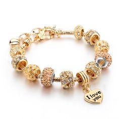 Vendimia Corazón Colgante Pulsera Para Las Mujeres 2016 Amor Encantos Pulseras Brazaletes Hechos A Mano Diy Perlas de Cristal de Oro Joyería Sbr160067