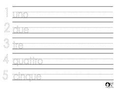 Worksheet Italian Numbers 1-5