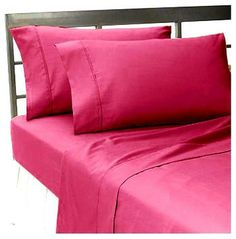 400TC Solid Pink Full Fitted Sheet & 2 Pillowcases - asian - sheets - World Mart USA Inc.