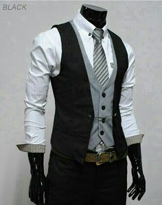 THELEES Slim vest waistcoat in layer style for h .- THELEES Dünner Weste-Taillenmantel im Lagenstil für Herren THELEES Slim waisted waistcoat for men, - Mode Masculine, Sharp Dressed Man, Well Dressed Men, Mode Man, Man Dressing Style, Herren Outfit, Layer Style, Business Casual Outfits, Business Style