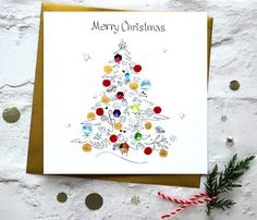 Merry Christmas Tree Winter Baubles by CardsbySABIVODesign on Etsy