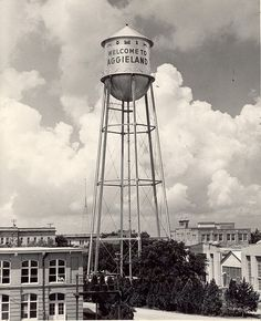 Original Texas A&M water tower in the 1930s. Photo courtesy Texas A&M University Libraries.