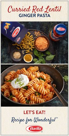 Invite the unique flavors of curry, ginger and red lentils to your dinner menu with this easy rotini pasta recipe!