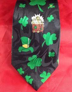 Mens Tie St Patricks Day Irish Pot Gold Clover Steven Harris Handmade Classic | eBay
