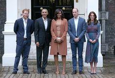 William, Harry și Kate i-au întâmpinat la Palatul Kensington pe soții Obama