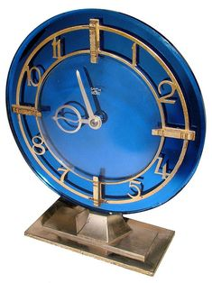 Horloges Décor: Art Deco Blue Mirror Clock -Plus Art Deco Decor, Art Deco Stil, Art Deco Design, Decoration, Clock Vintage, Antique Clocks, Clock Art, Clock Decor, Mantel Clocks