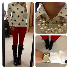 Polka Dot Button Up, Large Polka Dot Sweater, Red Skinnies, Pearl Bauble Necklace