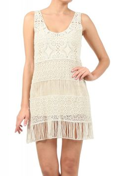 survive the heat wave with this Freeway Sleeveless Crochet Lace Dress With Attached Lining.