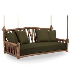 A beautifully unique addition to your home – indoors or out – the graceful, organic lines of nature are the design trademarks of this Hanging Daybed. This exceptional piece is carefully created by hand, using the same simple tools and techniques employed by furniture craftsman for several centuries.