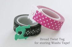 Washi Tape Storage Tip: Add a Bread Twist Tag to the end of the roll! It makes it easy to spot the end of the roll, and easy to unroll the tape too. Get cute washi tapes at www. Washi Tape Uses, Washi Tape Storage, Washi Tape Cards, Masking Tape, Washi Tapes, Craft Room Storage, Craft Organization, Scrapbook Organization, Organizing Ideas