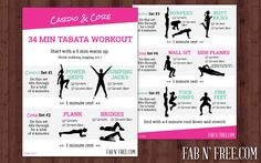 Free Printable Cardio and Core Tabata Workout