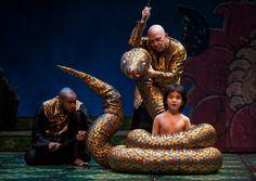Timothy Wilson (ensemble), Thomas Derrah (Kaa), and Akash Chopra (Mowgli) in Tony Award winner Mary Zimmerman's new musical adaption of The Jungle Book (Photo credit: Liz Lauren)