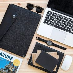 """Stay organized at work - by @ewan_brise - Sleeve for 13"""" Macbook Pro available on mujjo.com or through resellers worldwide. #mujjo"""