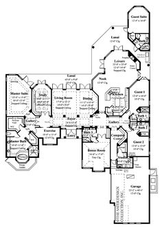 Floor plans aflfpw00531 1 story bungalow home with 4 for Luxury one story house plans with bonus room