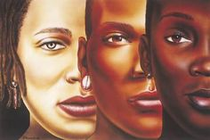 Beautiful artwork. Perfect example of light, brown, and dark skin women. Know your shades.