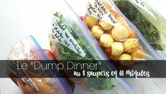 Le Dump Dinner vous permettra de sauver beaucoup de temps de préparation pour vos soupers de semaine. Voici comment préparer 8 soupers en 60 minutes Dump Dinners, Freezer Meals, Veg Recipes, Vegetarian Recipes, Batch Cooking, Make It Simple, Meal Prep, Crockpot, Slow Cooker