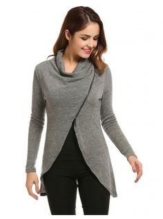 Women Cowl Collar Long Sleeve Asymmetrical Hem Knitted Zip Front Sweater