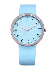 Hot Sale Blue Leather Strap Big Dial Womens Watches