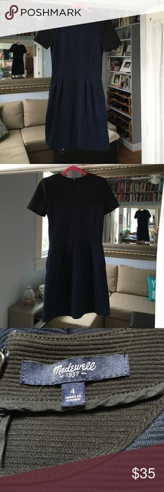 Navy Blue and Black Short sleeve textured dress Beautiful super comfortable Madewell (J. Crew family) dress.  Fabric is thick polyester/cotton/spandex blend.  Hidden side pockets!!! Madewell Dresses Midi