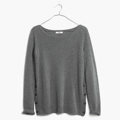 Madewell pinewood pullover sweater $79.50 - side slit sweaters are super in this season, but i like that this has buttons so you could open them and be part of the trend or close them for timelessness. [full disclosure: i really like this sweater, there's a chance we'll match if you buy it lol]