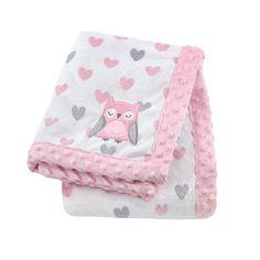 Cuddletime Girl Owl Print Valboa Blanket