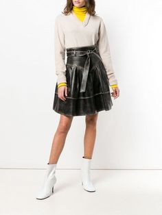 Ladies Women Trumpet Leather-Look Buckle Belt Panelled Zip Fastening Black Skirt
