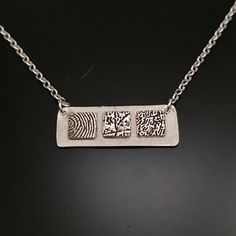 Handmade Sterling Silver, Sterling Silver Chains, Fingerprint Necklace, Memorial Jewelry, Silver Bars, Copper Jewelry, Bar Necklace, Personalized Jewelry, Fashion Necklace