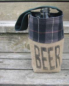 BEER - Burlap Growler Tote. $32.00, via Etsy.