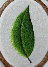 Z kotem na kolanach: Haft cieniowany płaski - krok po kroku - Listek Creative Embroidery, Indie, Hand Embroidery Stitches, Leaves, Hand Embroidery Patterns, Embroidered Flowers, Tejidos, Crafts