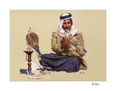 Abbas with his Falcons Print http://markupton.com/paintings/print03.html