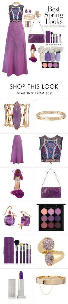 """Giorgio Armani purple #longskirt #purplecolr"" by mbarbosa ❤ liked on Polyvore featuring Lucifer Vir Honestus, Cartier, Giorgio Armani, Etro, Steve Madden, H&M, Tory Burch, Sharon Khazzam, MAC Cosmetics and Sigma Beauty"