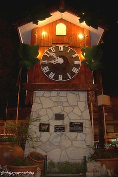 Reloj Cu Cú, Villa Carlos Paz- Nocturna.   Flickr: Intercambio de fotos