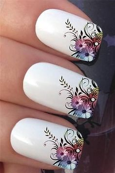 Nail Art Set 608 Flower Leaf French Tips Water Transfer Decals Stickers… Triangle Nail Art, Geometric Nail Art, Floral Nail Art, Pastel Nail, Ombre Nail, Pink Nail, Nail Art Set, Easy Nail Art, Flower Nail Designs